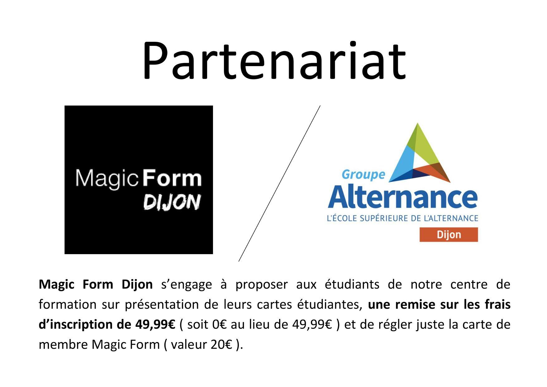 Partenariat Magic Form Dijon Groupe Alternance Etudiant Sport Fitness